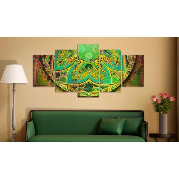 Tablou Mandala: Green Energy 100 cm x 50 cm naturlich.ro