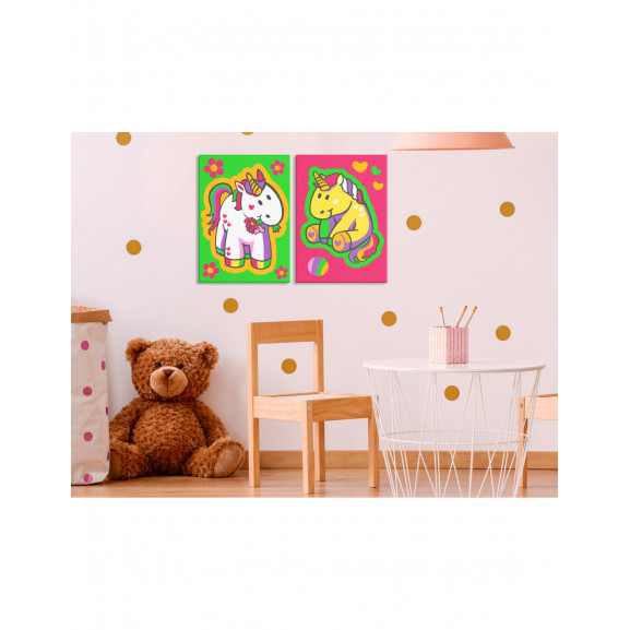 Pictatul Pentru Recreere Unicorns (Green & Pink) 33 cm x 23 cm naturlich.ro