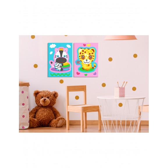 Pictatul Pentru Recreere Zebra & Leopard (Pink & Blue) 33 cm x 23 cm naturlich.ro