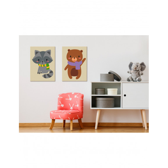Pictatul Pentru Recreere Raccoon & Bear 33 cm x 23 cm naturlich.ro