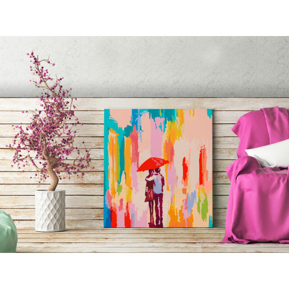 Pictatul Pentru Recreere Couple Under An Umbrella (Pink Background) 45 cm x 45 cm naturlich.ro