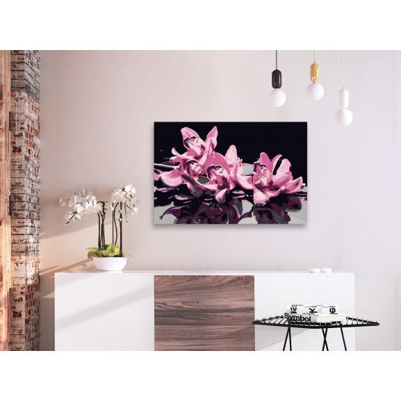 Pictatul Pentru Recreere Pink Orchid (Black Background) 60 cm x 40 cm naturlich.ro