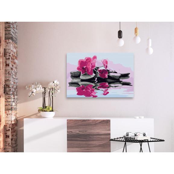Pictatul Pentru Recreere Orchid With Zen Stones (Reflection In The Water) 60 cm x 40 cm naturlich.ro