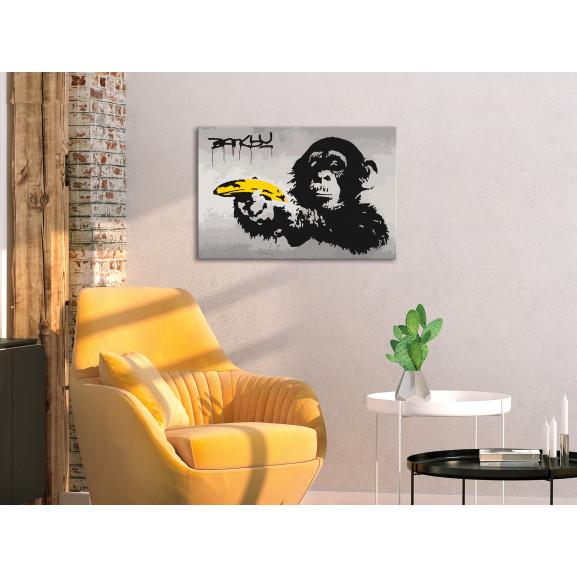 Pictatul Pentru Recreere Monkey (Banksy Street Art Graffiti) 60 cm x 40 cm naturlich.ro