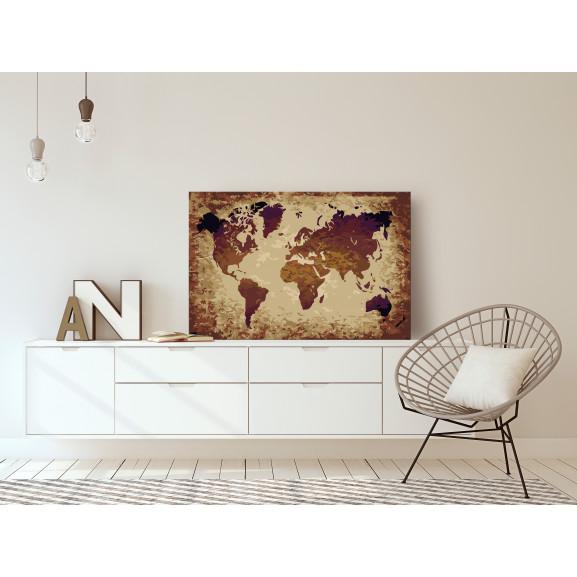 Pictatul Pentru Recreere World Map (Brown Colours) 60 cm x 40 cm naturlich.ro