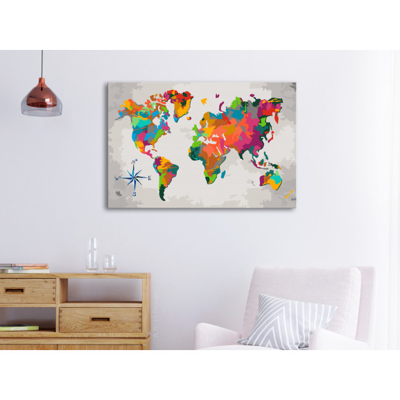 Pictatul Pentru Recreere World Map (Compass Rose) 60 cm x 40 cm naturlich.ro