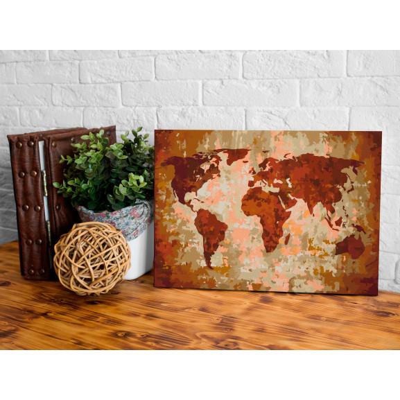 Pictatul Pentru Recreere World Map (Earth Colours) 60 cm x 40 cm naturlich.ro