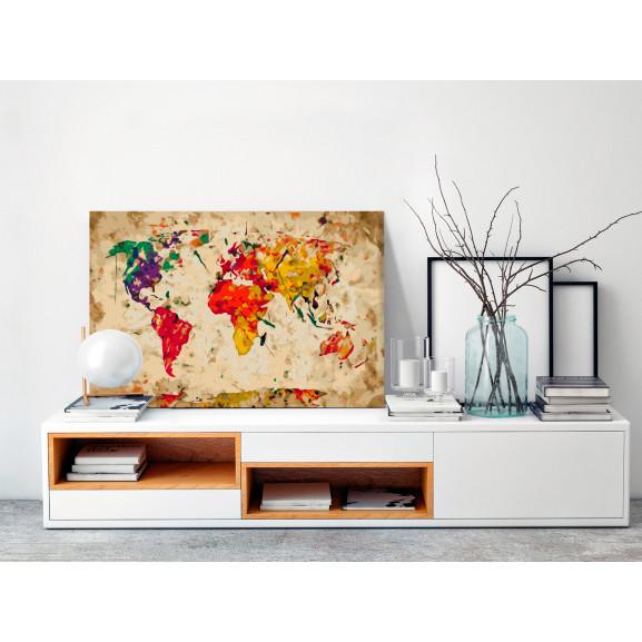 Pictatul Pentru Recreere World Map (Colour Splashes) 60 cm x 40 cm naturlich.ro