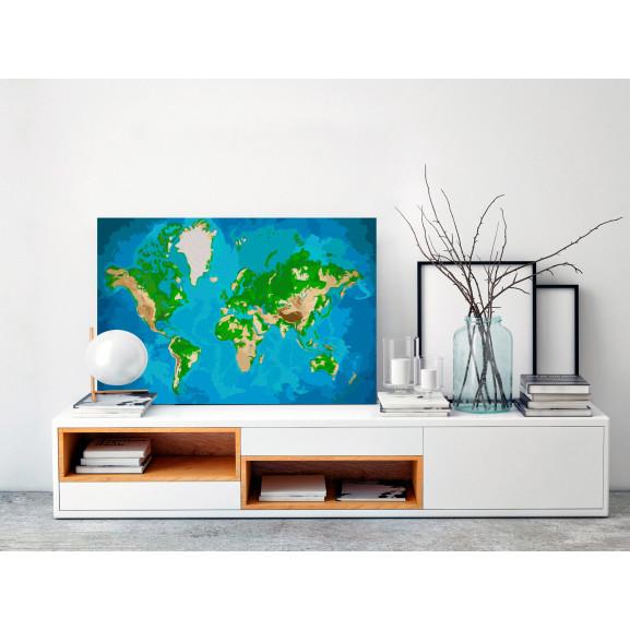 Pictatul Pentru Recreere World Map (Blue & Green) 60 cm x 40 cm naturlich.ro