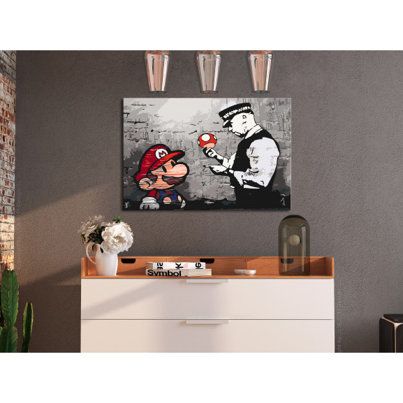 Pictatul Pentru Recreere Mario (Banksy) 60 cm x 40 cm naturlich.ro