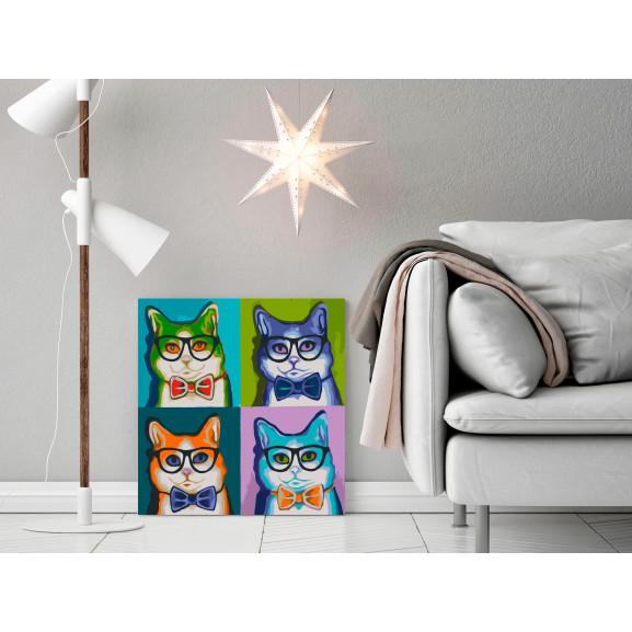 Pictatul Pentru Recreere Cats With Glasses 40 cm x 40 cm naturlich.ro