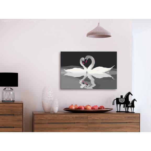 Pictatul Pentru Recreere Swan Couple 60 cm x 40 cm naturlich.ro