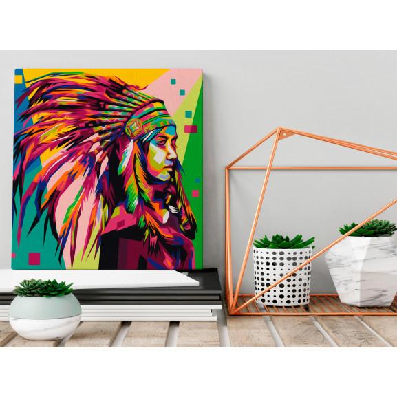 Pictatul Pentru Recreere Native American (Plume) 40 cm x 40 cm naturlich.ro