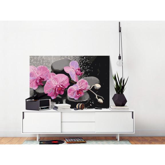 Pictatul Pentru Recreere Orchid With Zen Stones (Black Background) 60 cm x 40 cm naturlich.ro