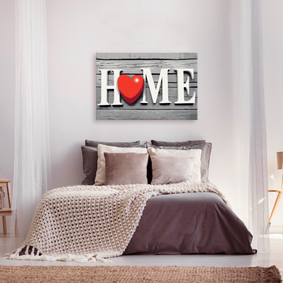 Pictatul Pentru Recreere Home With Red Heart 60 cm x 40 cm naturlich.ro