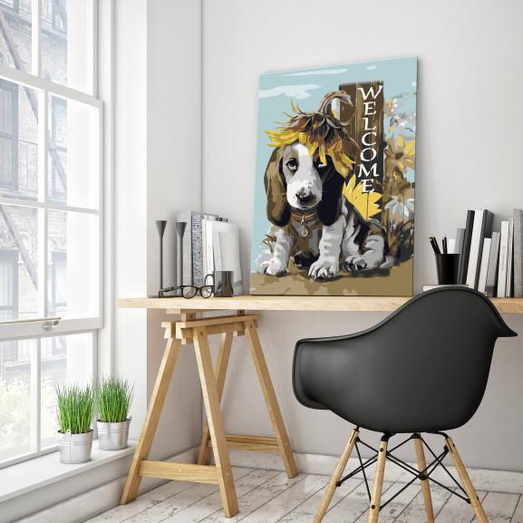 Pictatul Pentru Recreere Dog And Sunflowers 40 cm x 60 cm naturlich.ro