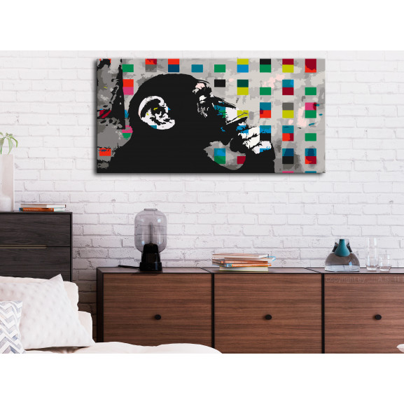 Pictatul Pentru Recreere Thoughtful Monkey 80 cm x 40 cm naturlich.ro