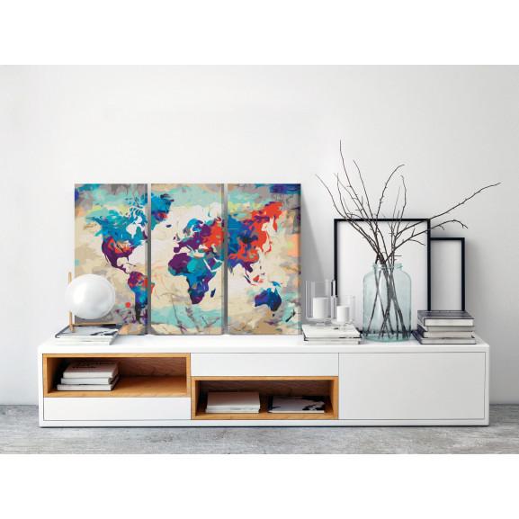 Pictatul Pentru Recreere World Map (Blue & Red) 3 Parts 60 cm x 40 cm naturlich.ro