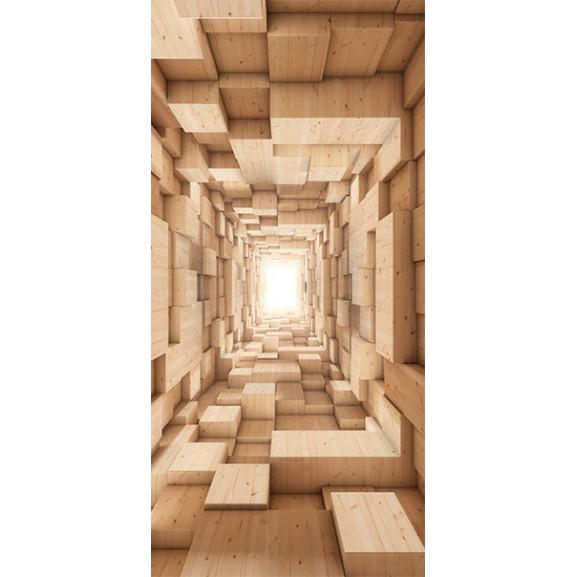 Fototapet Pentru Ușă Wooden Tunnel 100 cm x 210 cm naturlich.ro