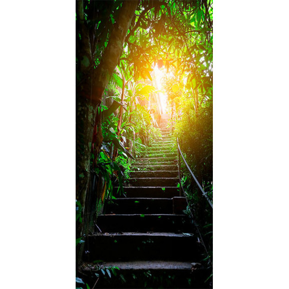 Fototapet Pentru Ușă Photo Wallpaper Stairs In The Urban Jungle I 100 cm x 210 cm naturlich.ro