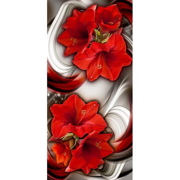 Fototapet Pentru Ușă Photo Wallpaper Abstraction And Red Flowers I 100 cm x 210 cm naturlich.ro
