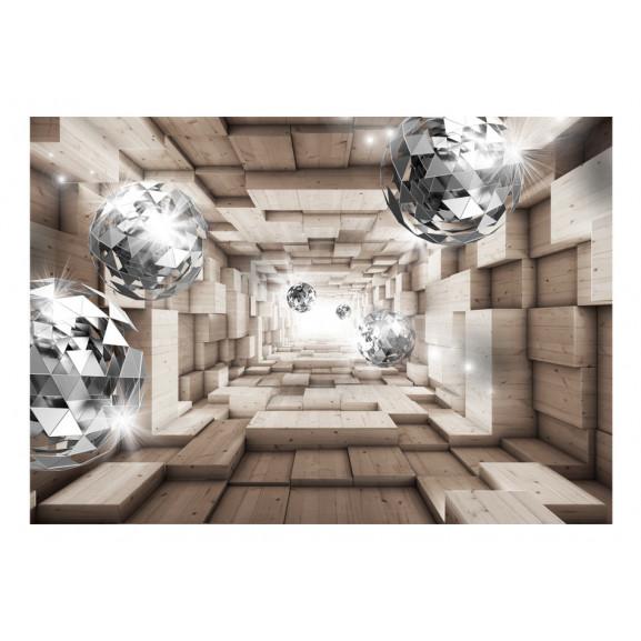 Fototapet In A Wooden Tunnel 100 cm x 70 cm naturlich.ro