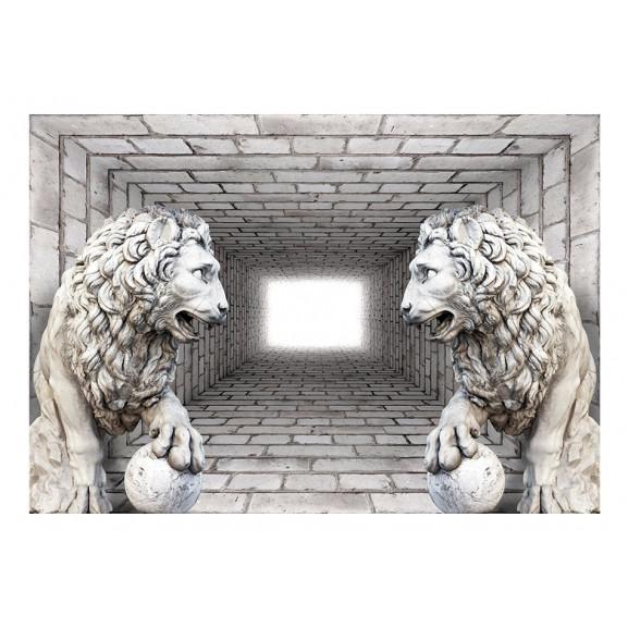 Fototapet Stone Lions 100 cm x 70 cm naturlich.ro