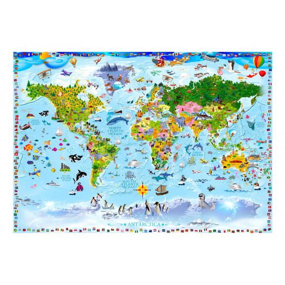 Fototapet World Map For Kids 100 cm x 70 cm naturlich.ro