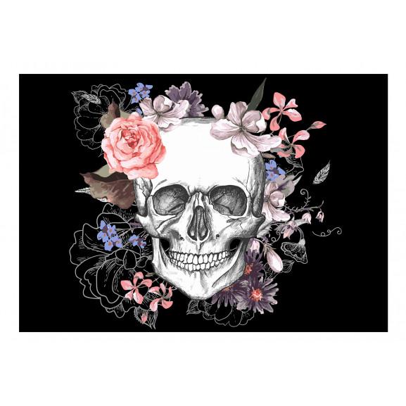 Fototapet Skull And Flowers 100 cm x 70 cm naturlich.ro