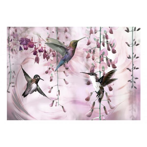 Fototapet Flying Hummingbirds (Pink) 100 cm x 70 cm naturlich.ro