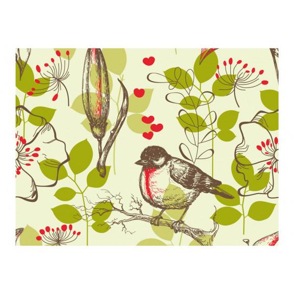 Fototapet Bird And Lilies Vintage Pattern 200 cm x 154 cm naturlich.ro