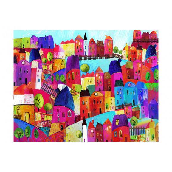 Fototapet Rainbow-Hued Town 200 cm x 154 cm naturlich.ro