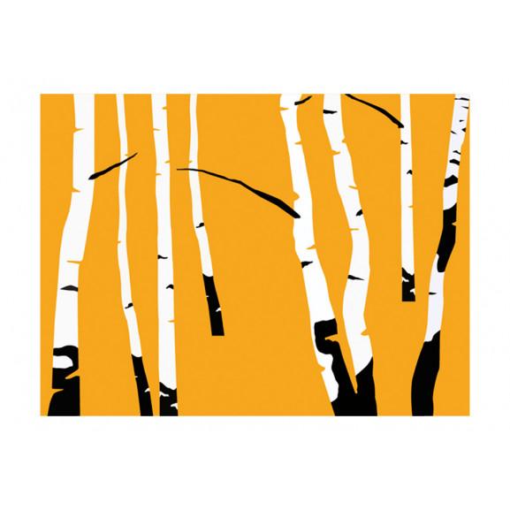 Fototapet Birches On The Orange Background 200 cm x 154 cm naturlich.ro