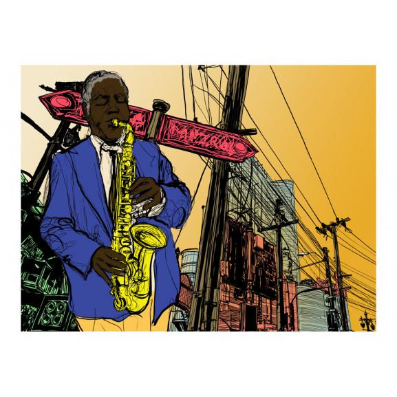 Fototapet Saxophonist In New York 200 cm x 154 cm naturlich.ro
