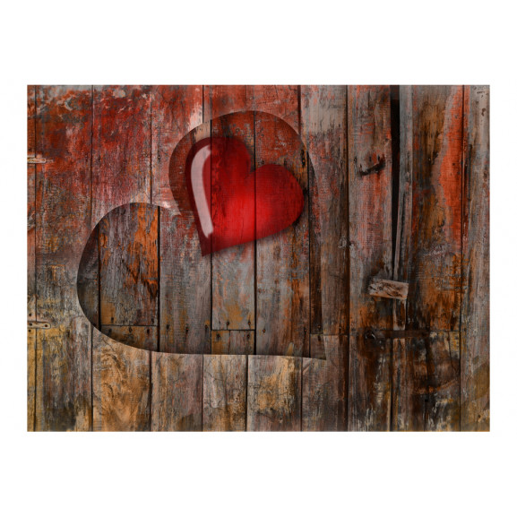 Fototapet Heart On Wooden Background 200 cm x 154 cm naturlich.ro
