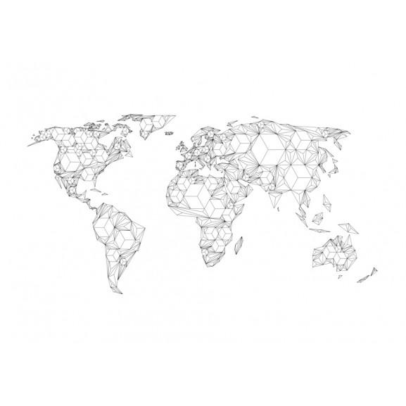 Fototapet Map Of The World White Solids 200 cm x 154 cm naturlich.ro