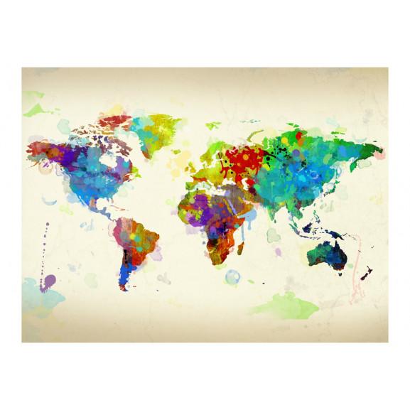 Fototapet Paint Splashes Map Of The World 200 cm x 154 cm naturlich.ro