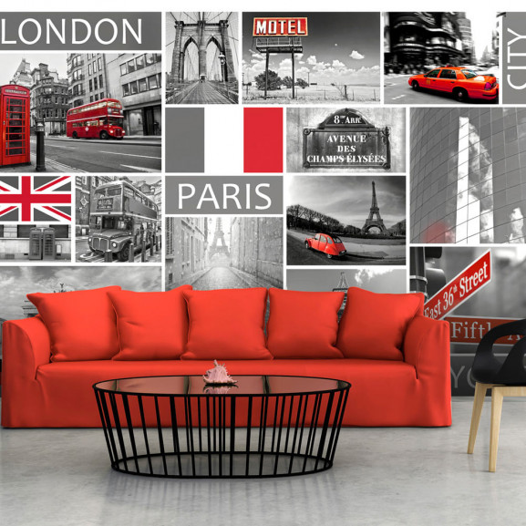 Fototapet London, Paris, Berlin, New...