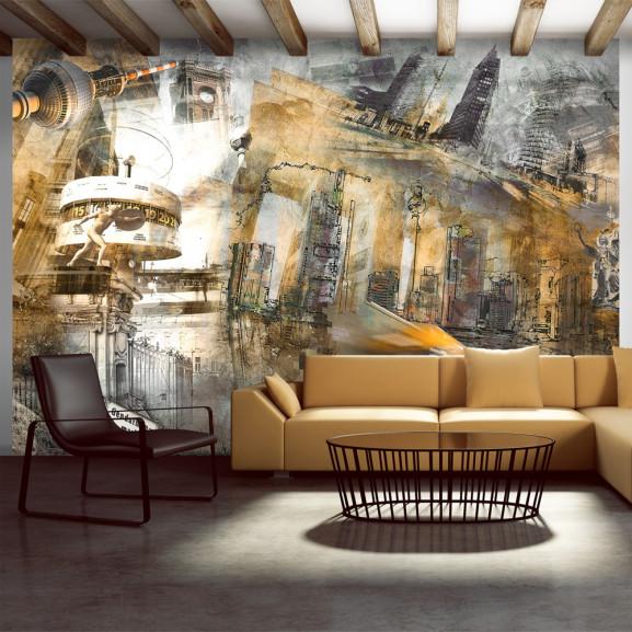 Fototapet Berlin Collage (Orange) 100...