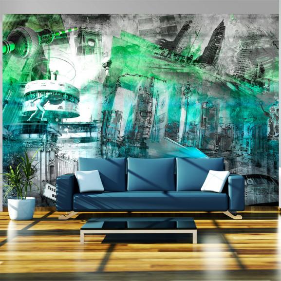 Fototapet Berlin Collage (Green) 100...