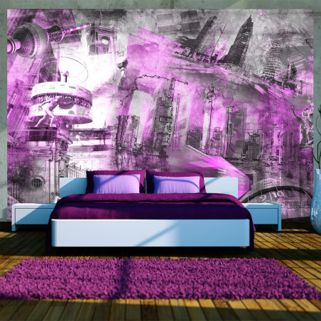 Fototapet Berlin Collage (Violet) 100 cm x 70 cm-01