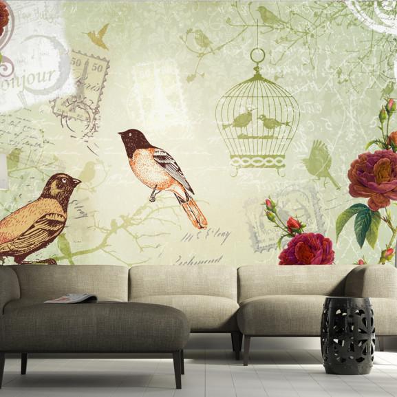 Fototapet Vintage Birds 100 cm x 70 cm