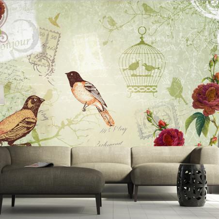 Fototapet Vintage Birds 100 cm x 70 cm-01