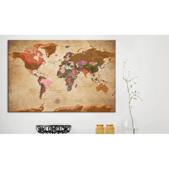 Tablou Din Plută World Map: Brown Elegance [Cork Map] 120 cm x 80 cm naturlich.ro