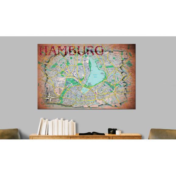 Tablou Din Plută Hamburg [Cork Map] 120 cm x 80 cm naturlich.ro