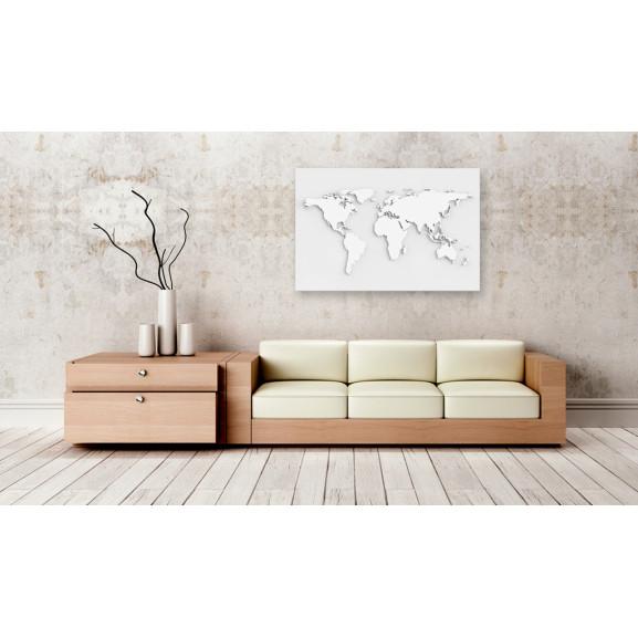 Tablou Din Plută Monochromatic World [Cork Map] 120 cm x 80 cm naturlich.ro