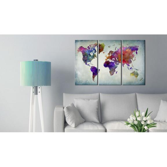 Tablou Din Plută World In Colors [Cork Map] 120 cm x 80 cm naturlich.ro