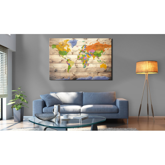 Tablou Map On Wood: Colourful Travels 120 cm x 80 cm naturlich.ro