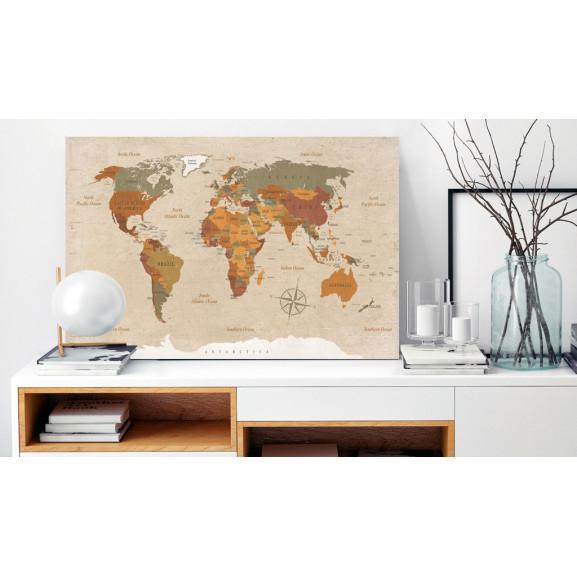 Tablou Din Plută Beige Chic [Cork Map] 120 cm x 80 cm naturlich.ro