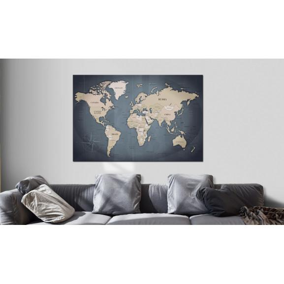 Tablou World Map: Shades Of Grey 120 cm x 80 cm naturlich.ro